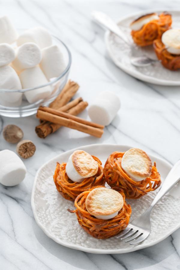 Mini Spiralized Sweet Potato Casserole Nests - Thanksgiving side dish recipe
