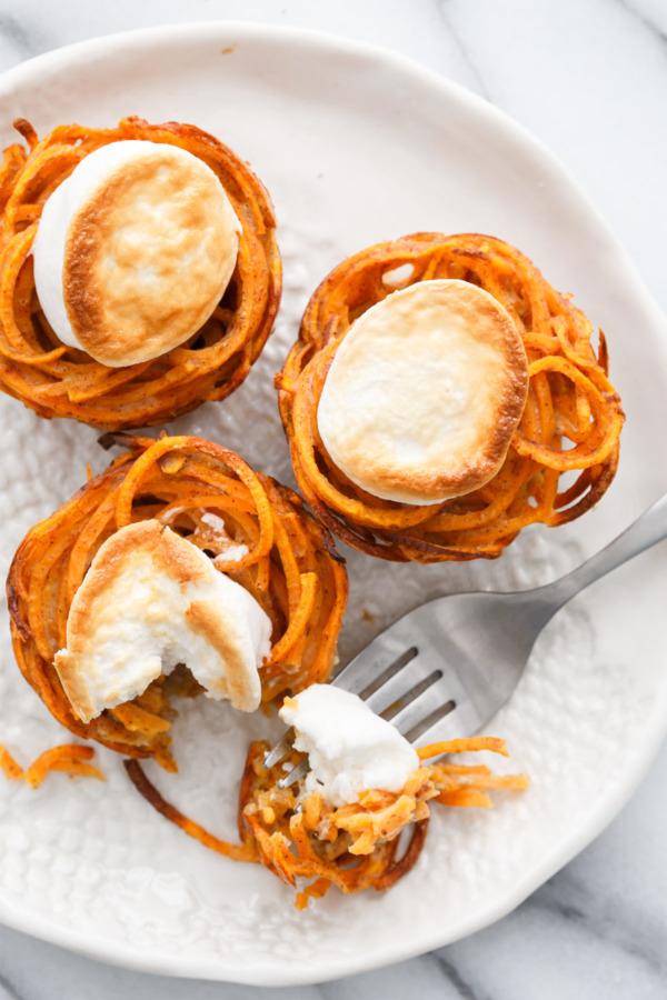 Mini Sweet Potato Casserole Nests, perfect recipe for Thanksgiving!