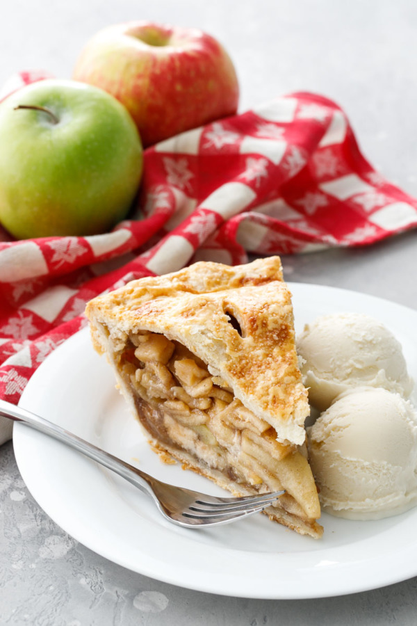 Marzipan Apple Pie a la Mode featuring two different kinds of apples for a sweet and flavorful filling!