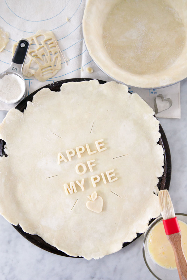Looking for pie decorating ideas? Use alphabet cutters and give your pie a voice of its own! (Marzipan Apple Pie Recipe)