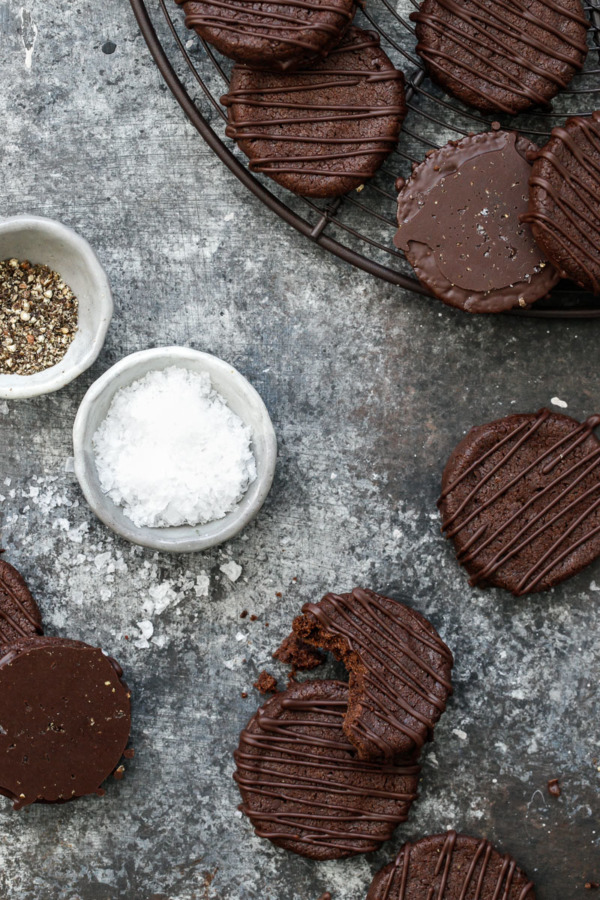 The secret to these decadent dark chocolate sable cookies? Salt and pepper (yes, pepper!)