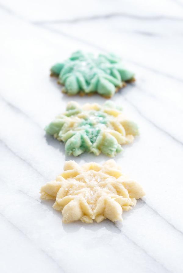 Vanilla Almond Spritz Cookies with edible glitter