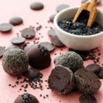 Dark Chocolate Ganache Truffles with Black Sesame