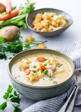 Creamy Chicken Pot Pie Soup Recipe served with Pie Crust Crackers