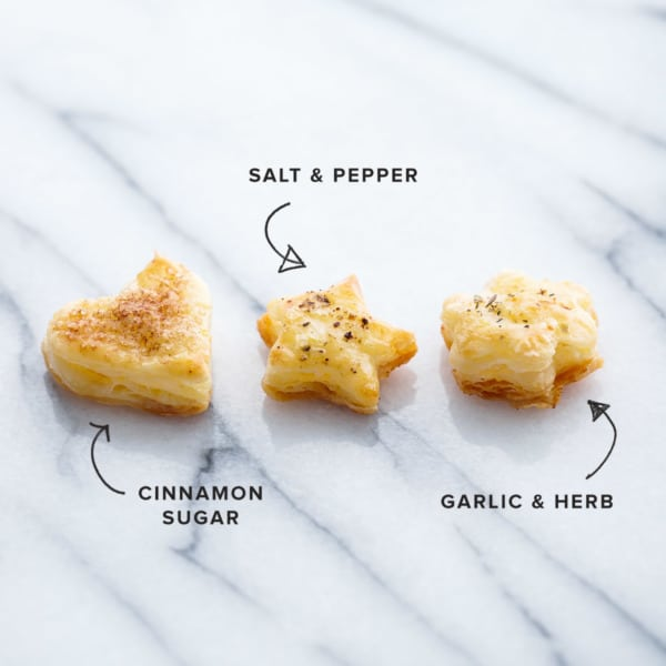 Flaky Pie Crust Crackers, 3 Ways: Cinnamon Sugar, Salt & Pepper, Garlic & Herb