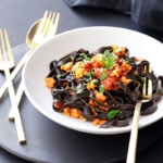 Spicy Squid Ink Fettuccine with Shrimp and Chorizo Recipe