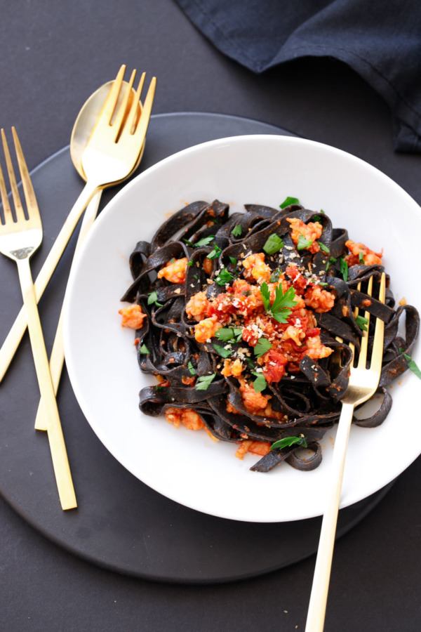 Homemade Squid Ink Fettuccine with Spicy Shrimp and Chorizo Tomato Sauce