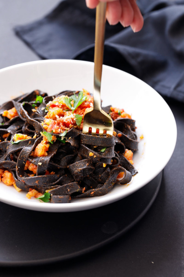 Spicy Shrimp and Chorizo Pasta Recipe with Homemade Squid Ink Fettuccine