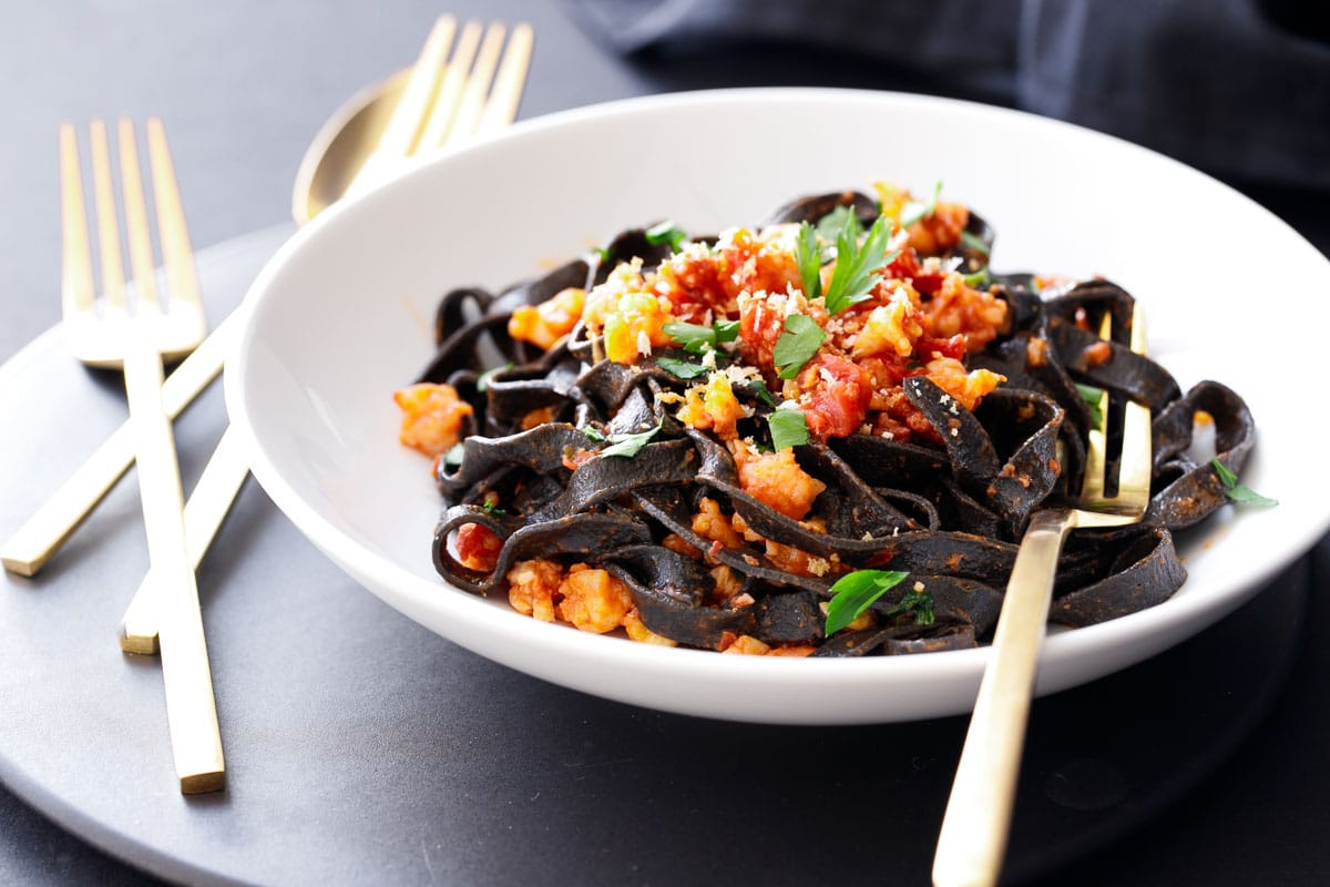 Spicy Squid Ink Fettuccine with Shrimp and Chorizo