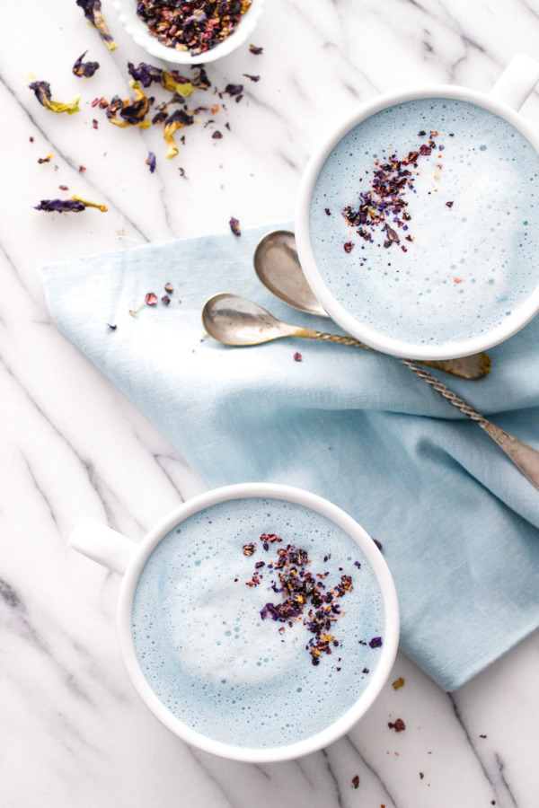Blue Moon Milk Recipe - Warm spiced milk with butterfly pea flowers