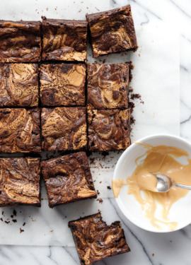 Fudgy Brownie Recipe with Caramelized White Chocolate Swirl