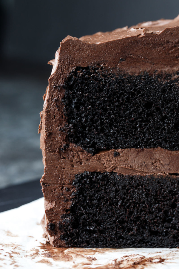 Two Layer Chocolate Cake Recipe with Dark Chocolate Fudge Frosting