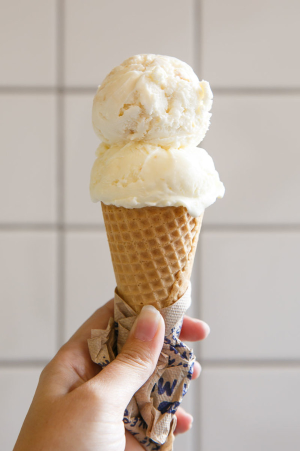 Sun-popped corn and toasted almond brittle ice cream from Jeni's.