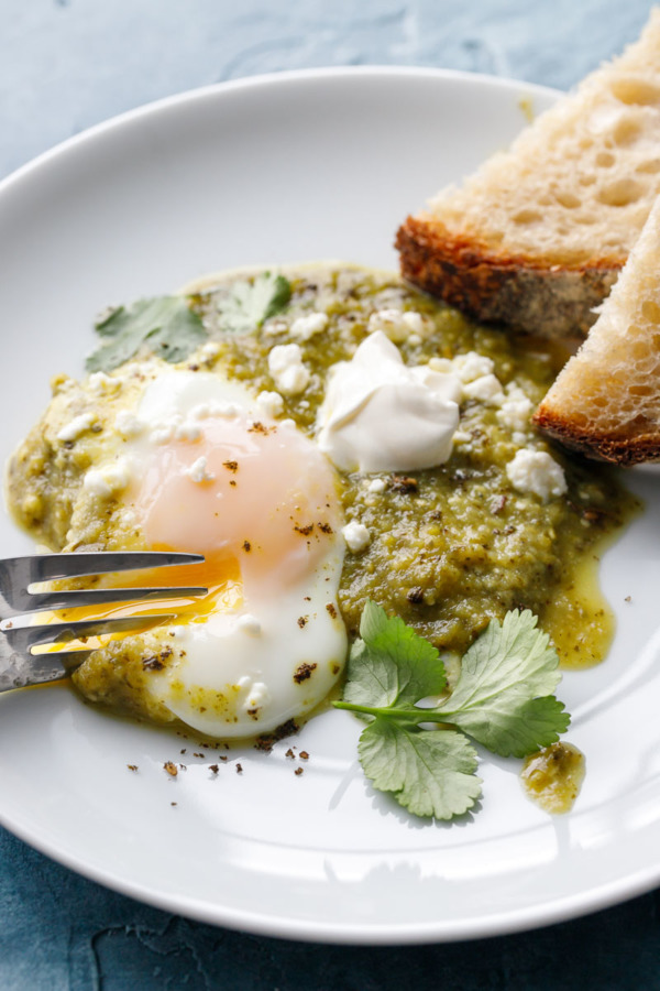 Green Tomatillo Shakshuka with Poached Eggs