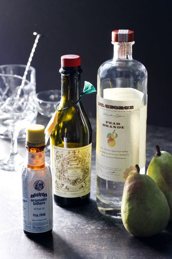 Ingredients to make a Pear Manhattan Cocktail Recipe