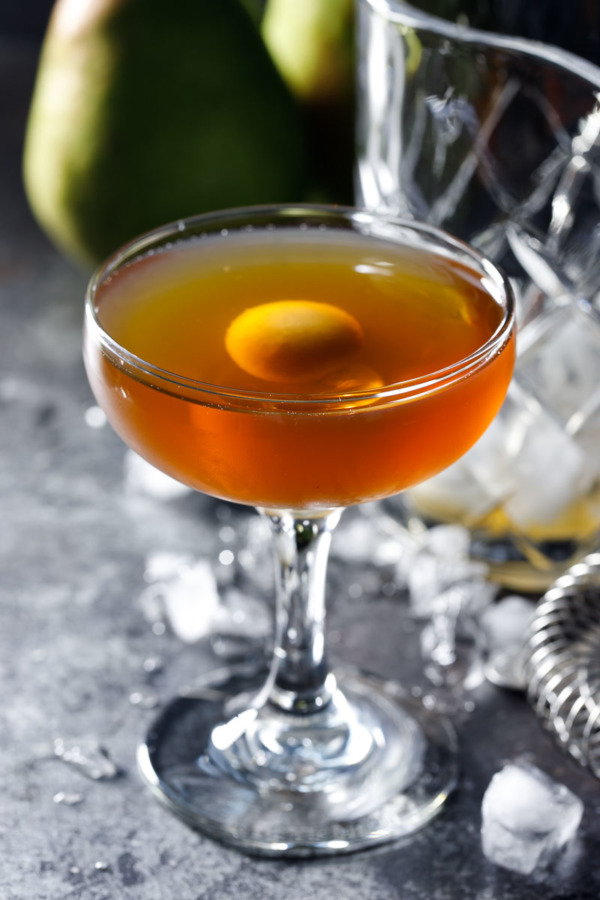Put a twist on the classic Manhattan cocktail recipe with pear brandy!