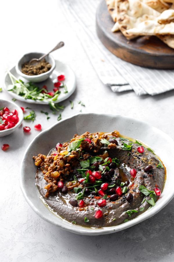Black Sesame & Black Bean Hummus with Spiced Beef