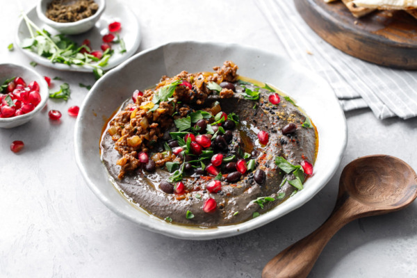 Black Sesame Hummus with Spiced Beef