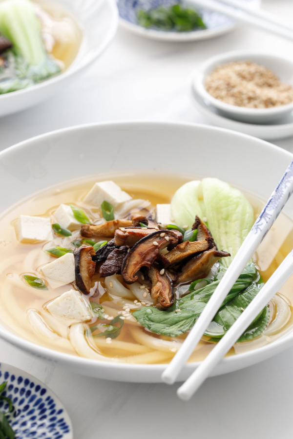 Japanese Udon Noodle Soup Recipe with Ginger Miso Broth, Bok Choy and Roasted Mushrooms