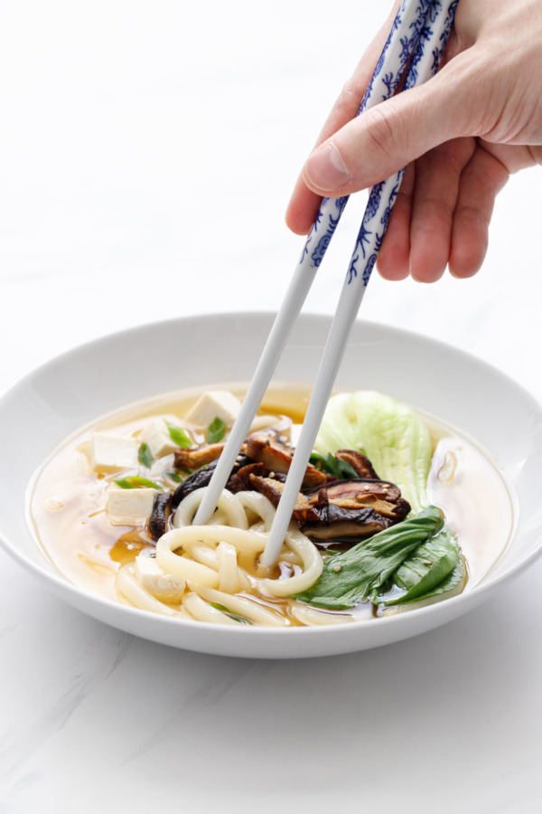 Japanese Ginger Miso Udon Noodle Soup Recipe with Soy-sauce Roasted Shiitake Mushrooms