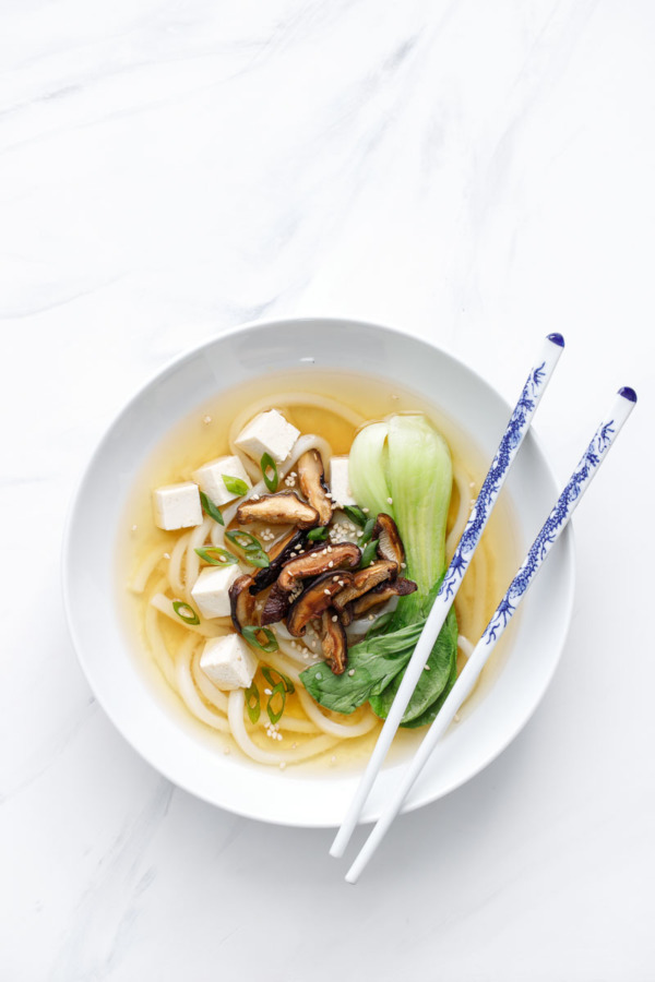 Recipe for Ginger Miso Udon Noodle Soup with Roasted Mushrooms