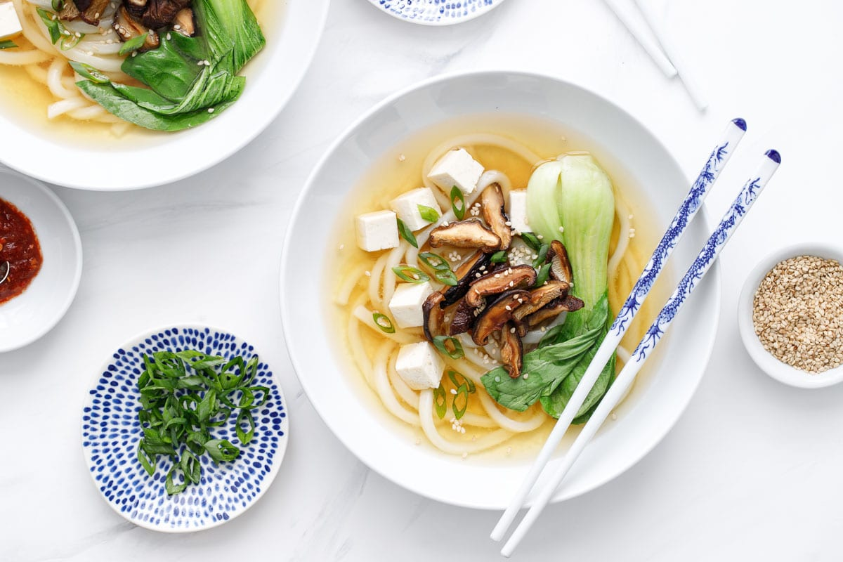 Ginger Miso Udon Noodle Soup with Roasted Mushrooms