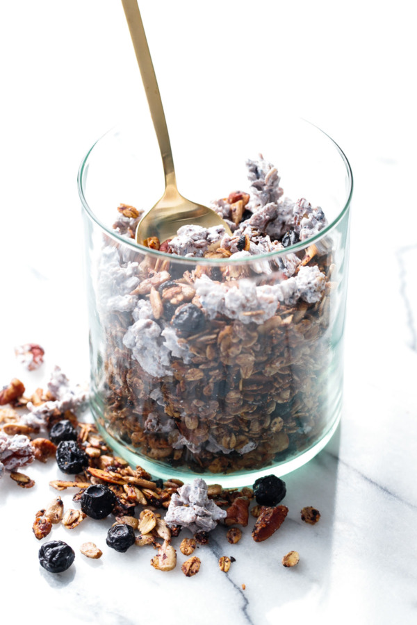 My Favorite Homemade Granola Recipe with Blueberry Yogurt Clusters