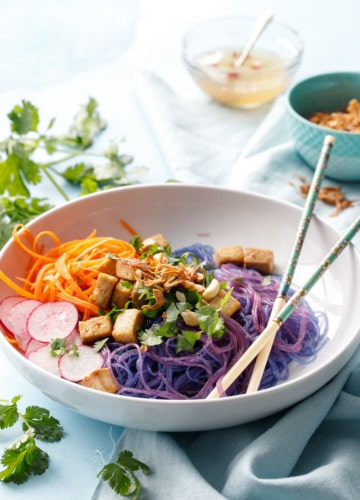 Magic Cellophane Noodle Bowls with Tofu and Fried Shallots