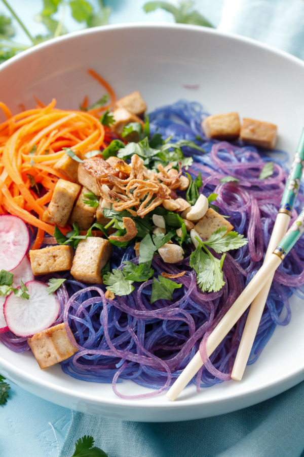 Vietnamese Noodle Bowls with Sauteed Tofu and Fried Shallots