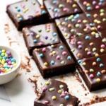 Homemade Cosmic Brownies Recipe with Chocolate Ganache Glaze and Crunchy Rainbow Bit Sprinkles