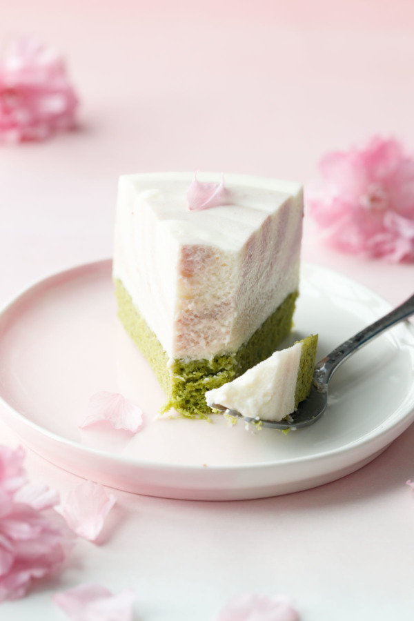 Sakura Matcha Mousse Cake is light and subtly sweet, with a hint of matcha and cherry blossom flavor.