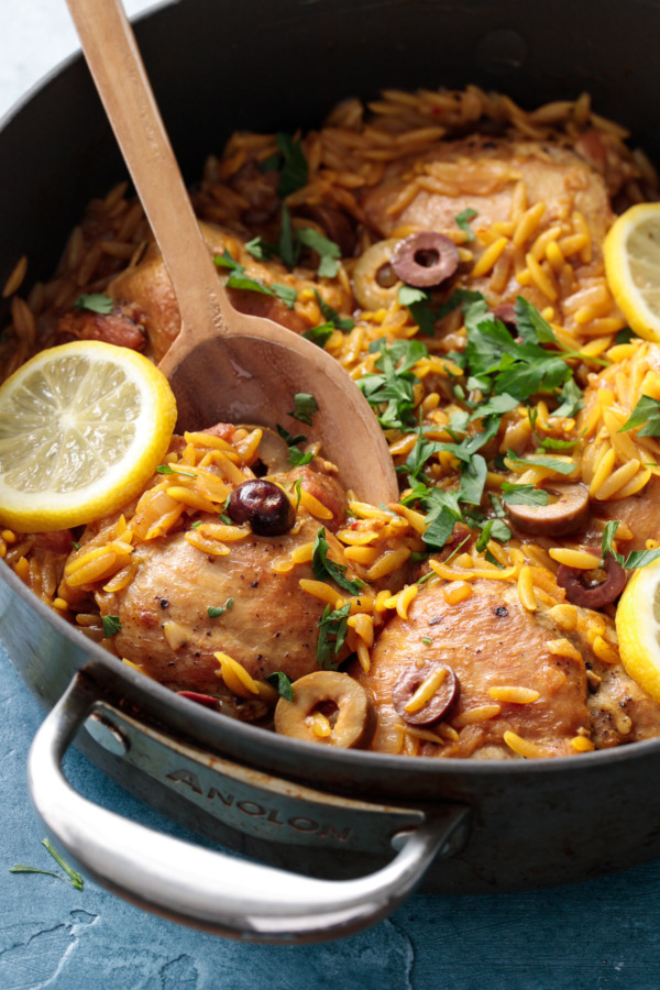 Moroccan Lemon Chicken with Orzo - An easy one-pan dinner recipe!