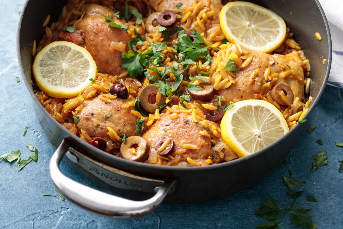 One Pan Moroccan Lemon Chicken with Orzo