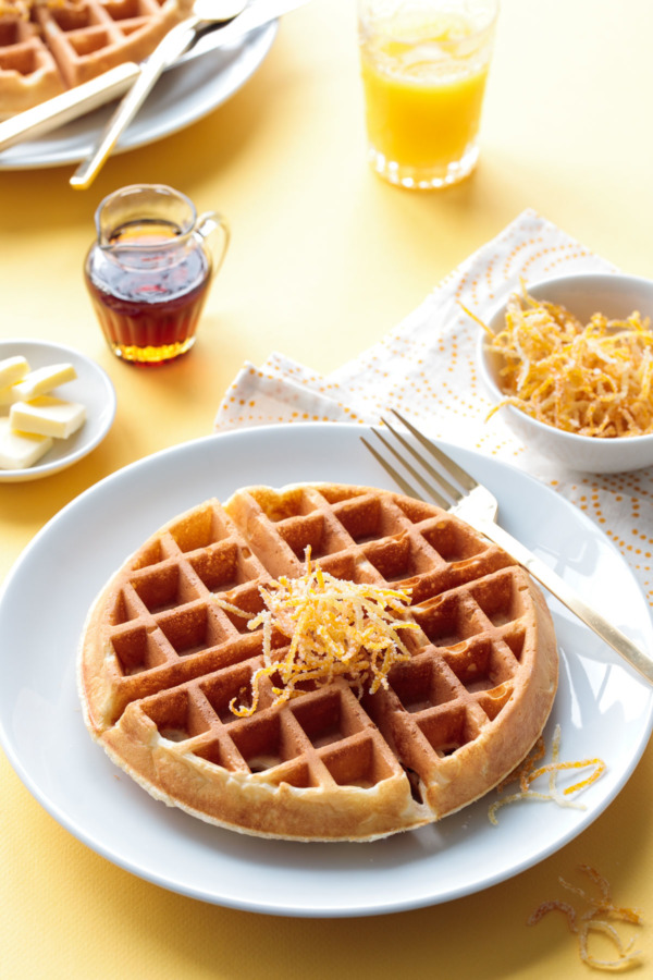 Meyer Lemon Buttermilk Waffles Recipe with Candied Citrus Peel