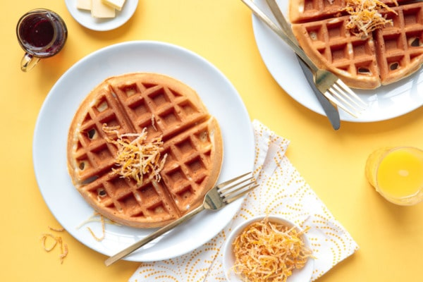 Sunshine Waffles with Candied Citrus