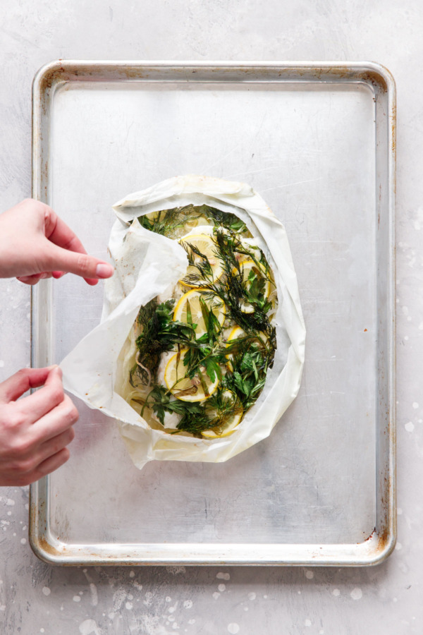 Fish en Papillote Recipe with Fresh Herbs and Lemon