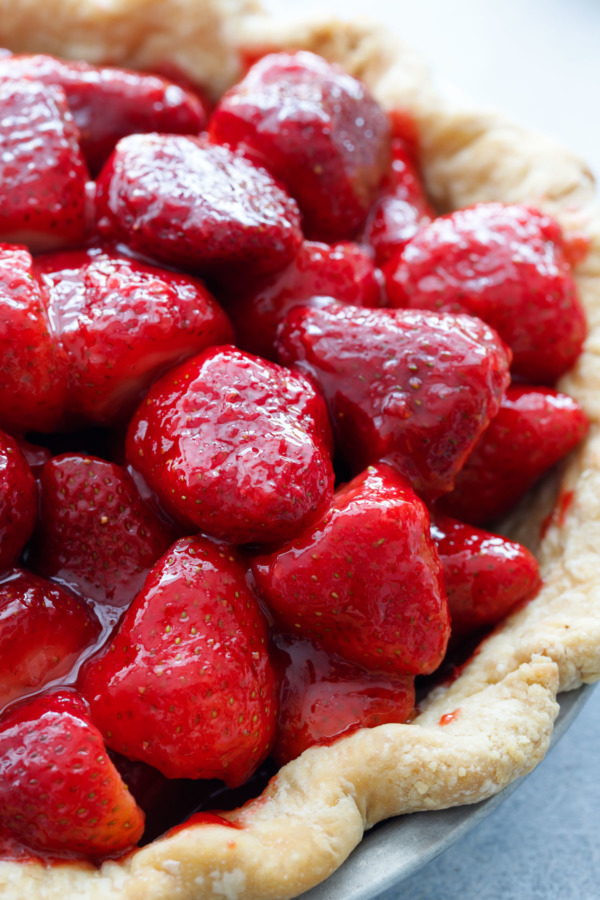 Close up of berries, Fresh Strawberry Rose Pie Recipe