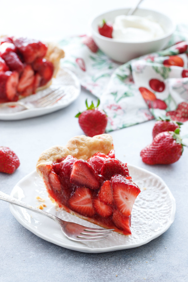 Fresh Strawberry Pie Recipe with a hint of rose that makes this the best strawberry pie ever!