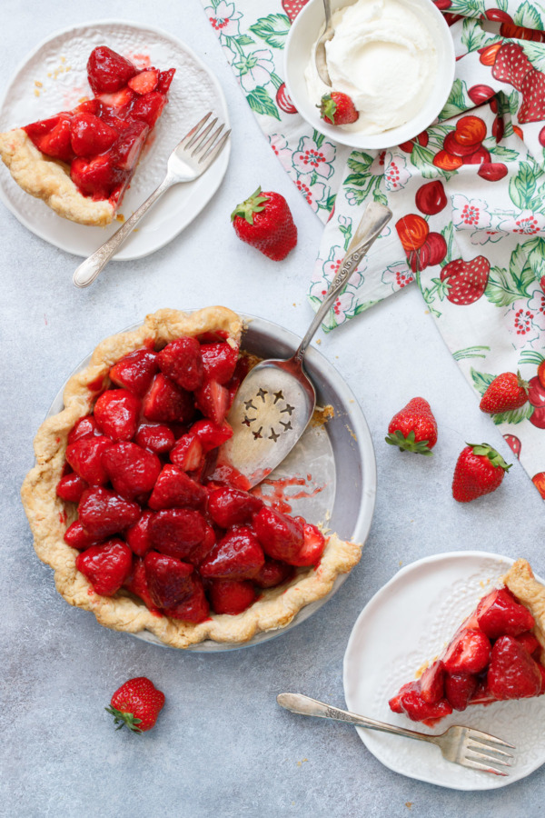 Grab a slice of Fresh Strawberry Rose Pie, top with a dollop of whipped cream and enjoy!