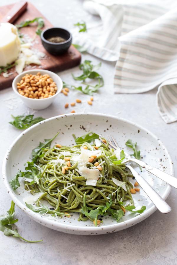 Spaghetti Cacio e Pepe with Homemade Arugula Pasta
