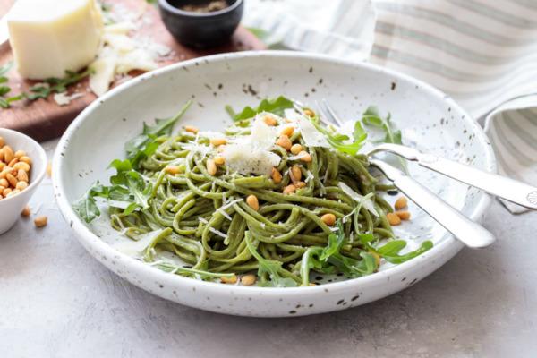 Arugula Cacio e Pepe with Homemade Arugula Spaghetti