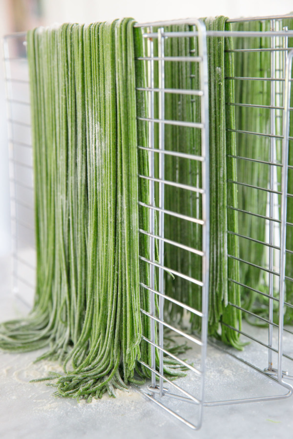 Drying homemade pasta helps it to cook up perfectly aldente. No drying rack? Improvise.