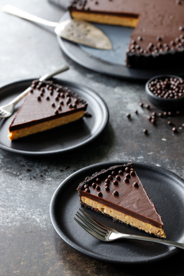 This Crunchy Peanut Butter and Chocolate Tart is basically a giant peanut butter cup.
