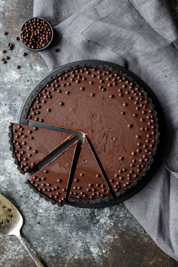 Crunchy Peanut Butter and Chocolate Tart Recipe, from above