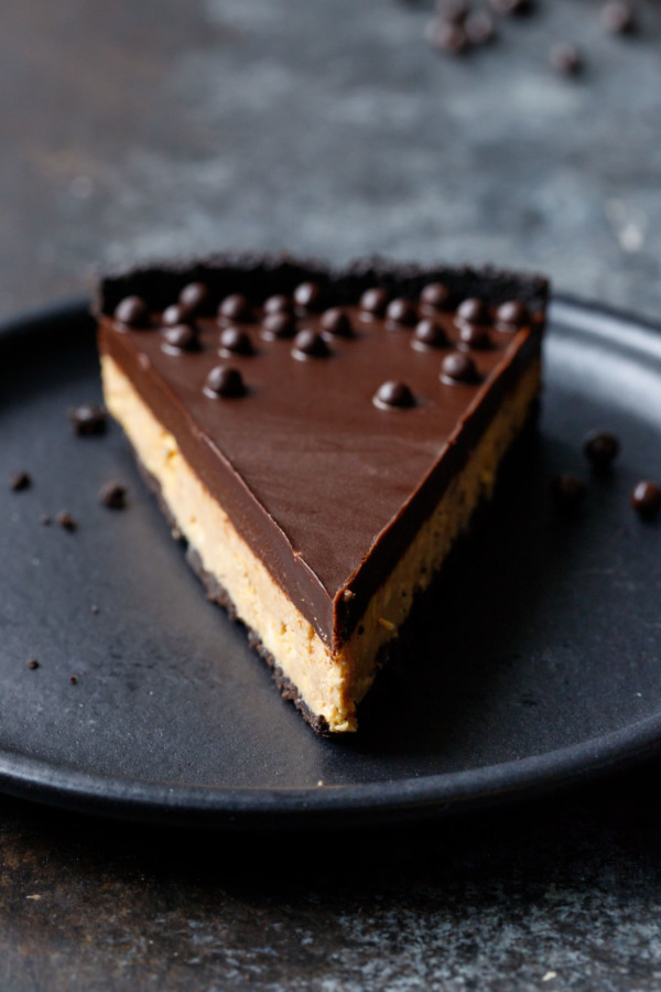 Slice of Crunchy Peanut Butter and Chocolate Tart