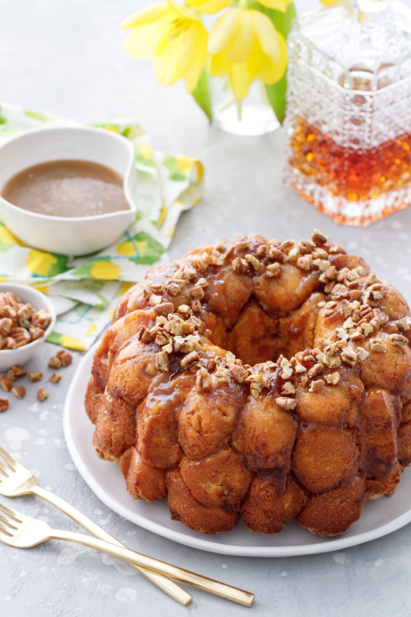 Drunken Monkey Bread with Bourbon Banana Caramel Sauce