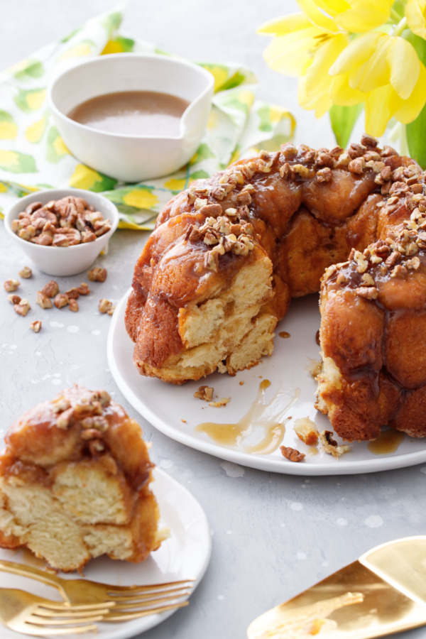 Drunken Monkey Bread Recipe with homemade brioche and bourbon banana caramel sauce!