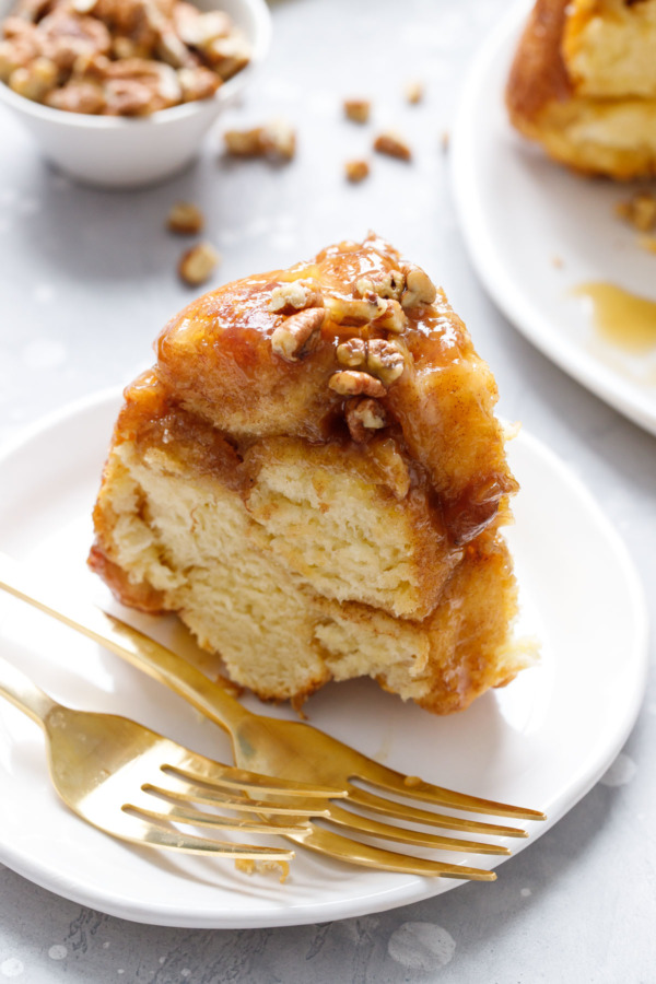 Slice of Homemade Brioche Monkey Bread with Bourbon Banana Caramel Sauce Recipe