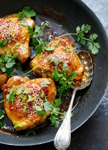 Honey Sriracha Chicken Thighs make for an easy, flavorful weeknight dinner!