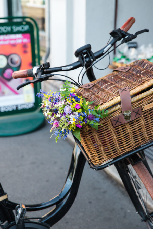 Fresh flowers in a bicylce basket, Zurich, Switzerland